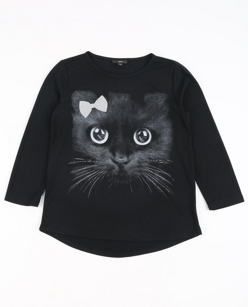 Zwarte longsleeve met kat - afgewerkt met glitter - JBC